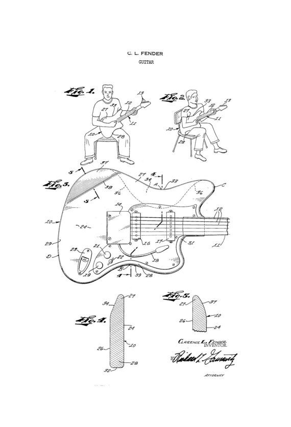 Fender Jaguar Guitar 1950s Patent Art Drawing By Guitarspatents