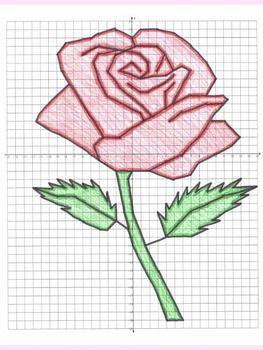 valentine 39 s day math rose coordinate graphing picture project pinterest dibujos en. Black Bedroom Furniture Sets. Home Design Ideas