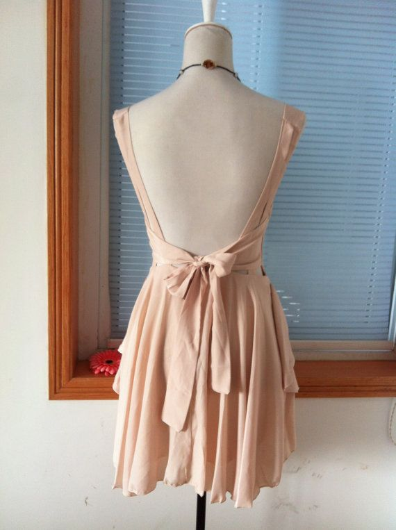 Vintage Cocktail Chiffon Knee Sundress Summer Dress by laceyouup, $34.99