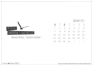 Desktop wallpaper calendar - love the simple graphics & black & white