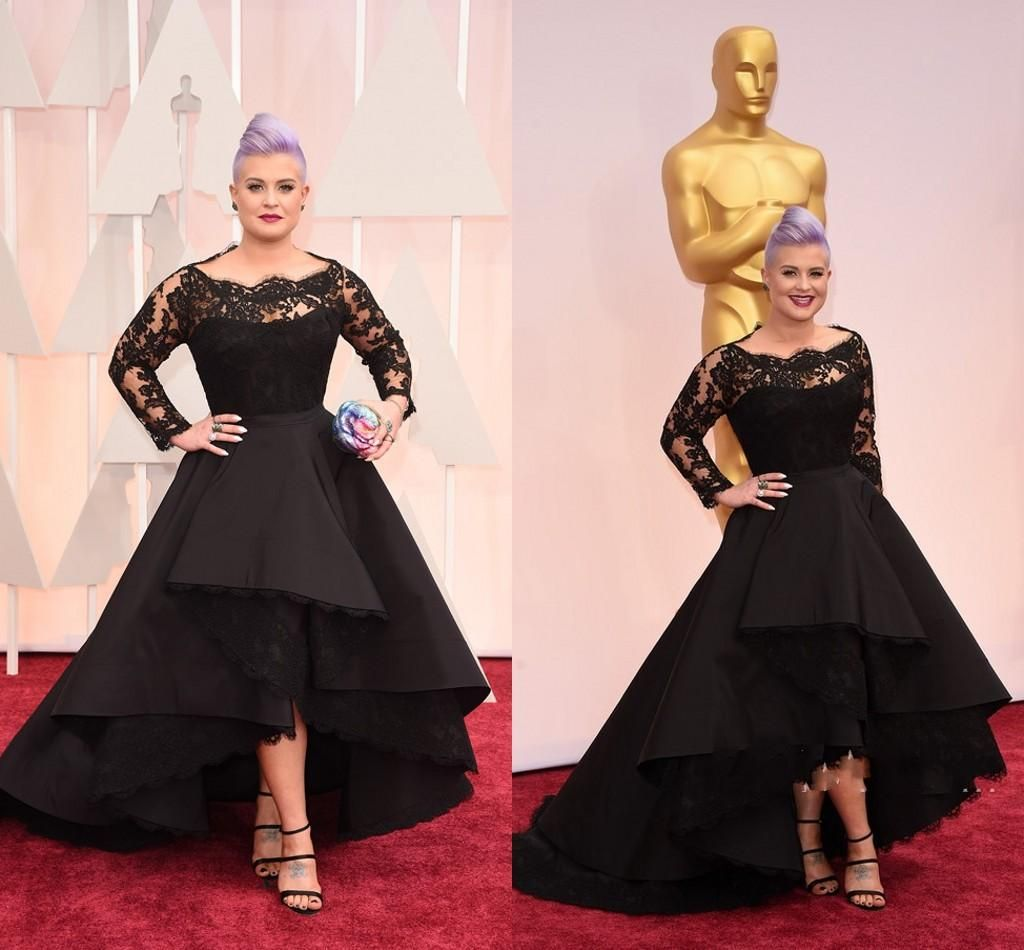 2015 Oscar Kelly Osbourne Black Lace Celebrity Dresses Sexy Hi Lo ...