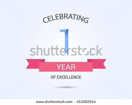 1 year anniversary, signs, symbols, simple design with red ribbon. - stock vector