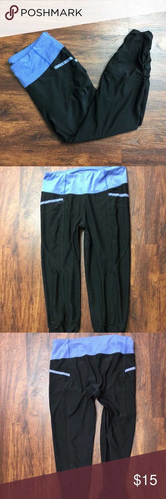 717fc68d802efb VOGO Athletica Black/Blue Workout Yoga Pants SizeM VOGO Athletica Black &  Blue Running Workout