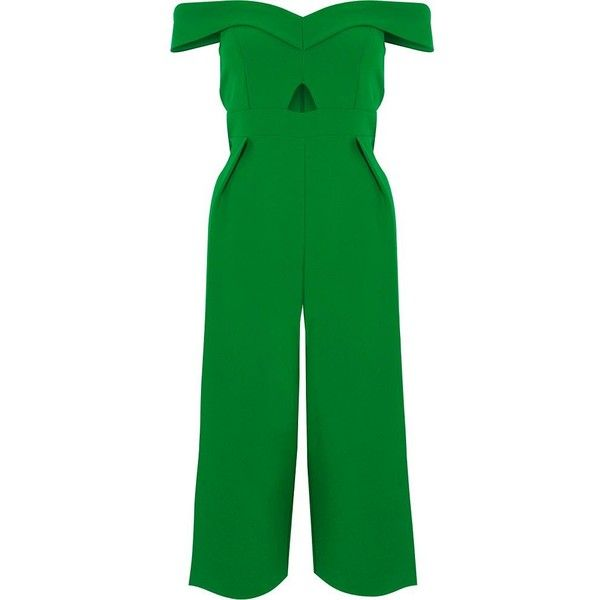 d54cbab655a River Island Petite green bardot cut out culotte jumpsuit ( 130) ❤ liked on  Polyvore featuring jumpsuits