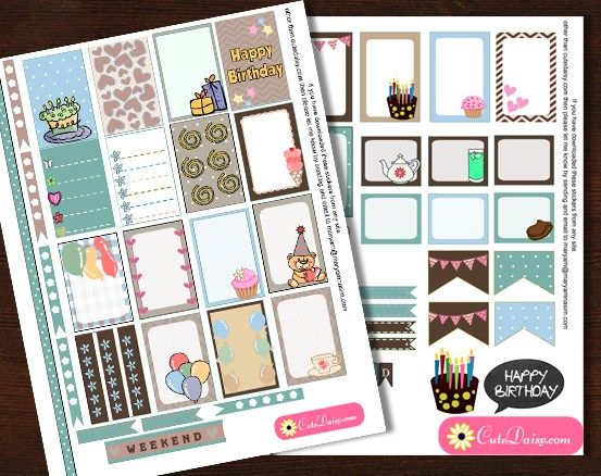 Printable Birthday Stationery Paper ~ Free printable birthday stickers for classic happy planner