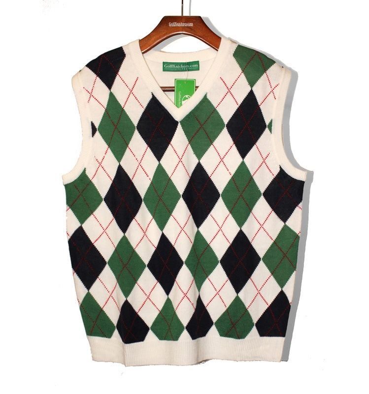 Argyle Sweater Vest - Mens White/Dark Green/Navy | Haberdashery ...