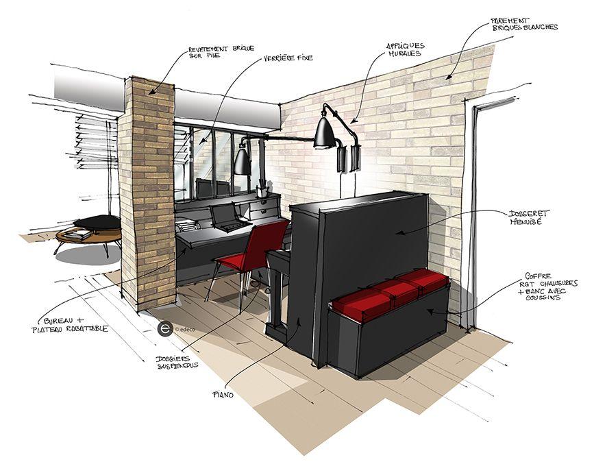 Esprit loft brique blanche et piano noir pour l espace bureau