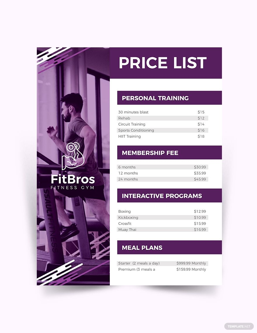 Gym Price List Template Free Pdf Google Docs Word Template Net In 2021 Gym Prices Photography Pricing Guide Template Price List Template