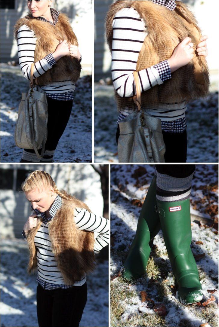 gingham, stripes, faux fur vest.