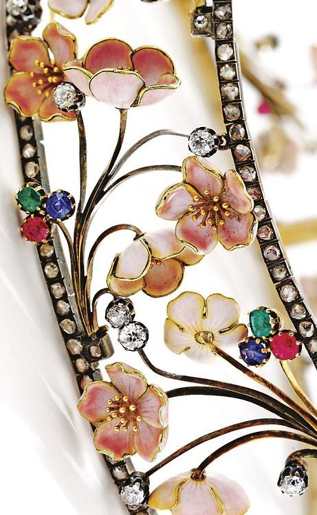 Detail: Art Nouveau cherry blossom choker with diamonds, rubies, sapphires, and emeralds. By Emile Froment-Meurice, circa 1900 … via | Filigree ~ cutout lattice