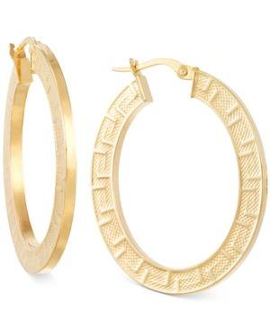 Italian Gold Greek Key Hoop Earrings In 14k Yellow