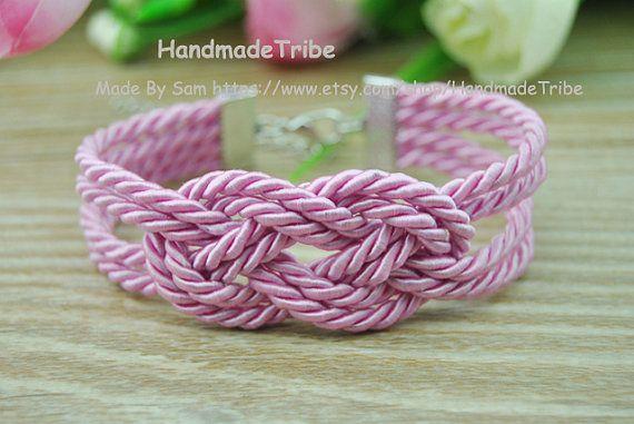 Sailor Knot Bracelet Infinity Knot Bracelet Pink by HandmadeTribe, $2.99 Fashion handmade cuff bracelet