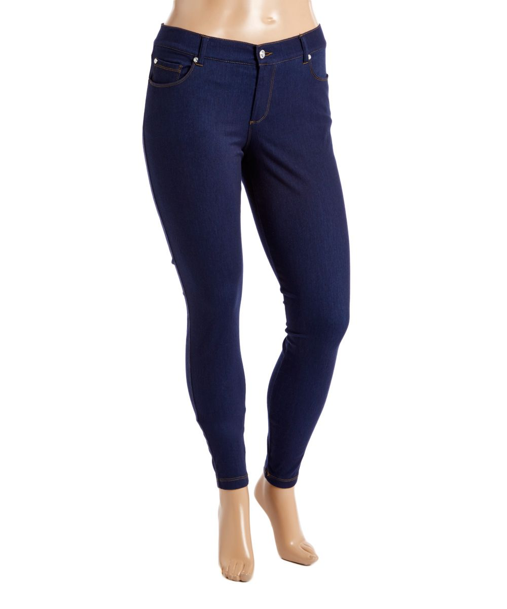 dc975bc234c Dark Blue Contrast-Stitch High-Waist Jeggings - Plus