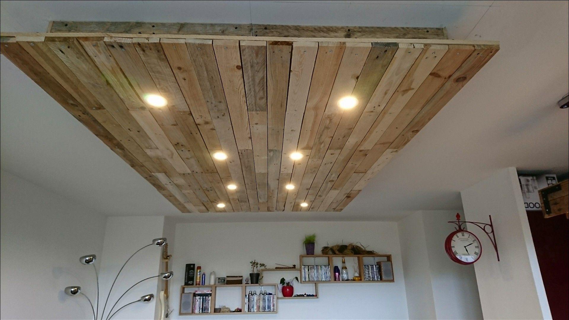 Faux plafond en palette.  Idée déco plafond, Plafond en palette