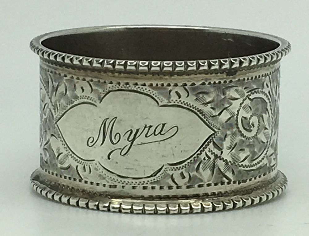 Sterling Silver Napkin Ring Myra Name Ornate Floral Dotted Border Whs Birmingham Silver Napkin Rings Silver Sterling Silver
