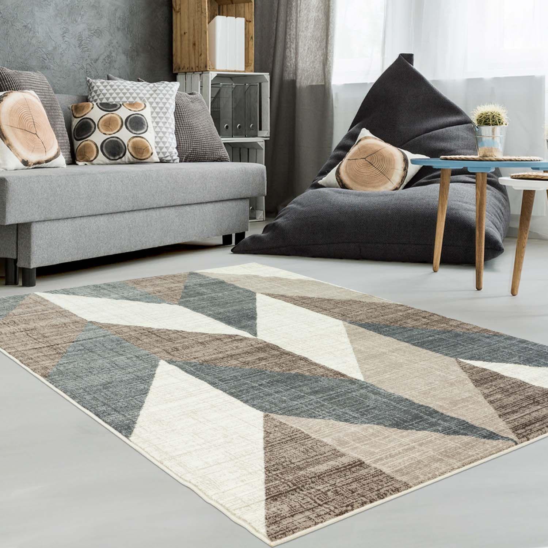 Teppich Mit Geometrischen Muster Inspiration 5804 Braun Zickzack Muster Chevron Muster Beige Teppich Braun Wohnzimmer Grau Gemusterte Teppiche
