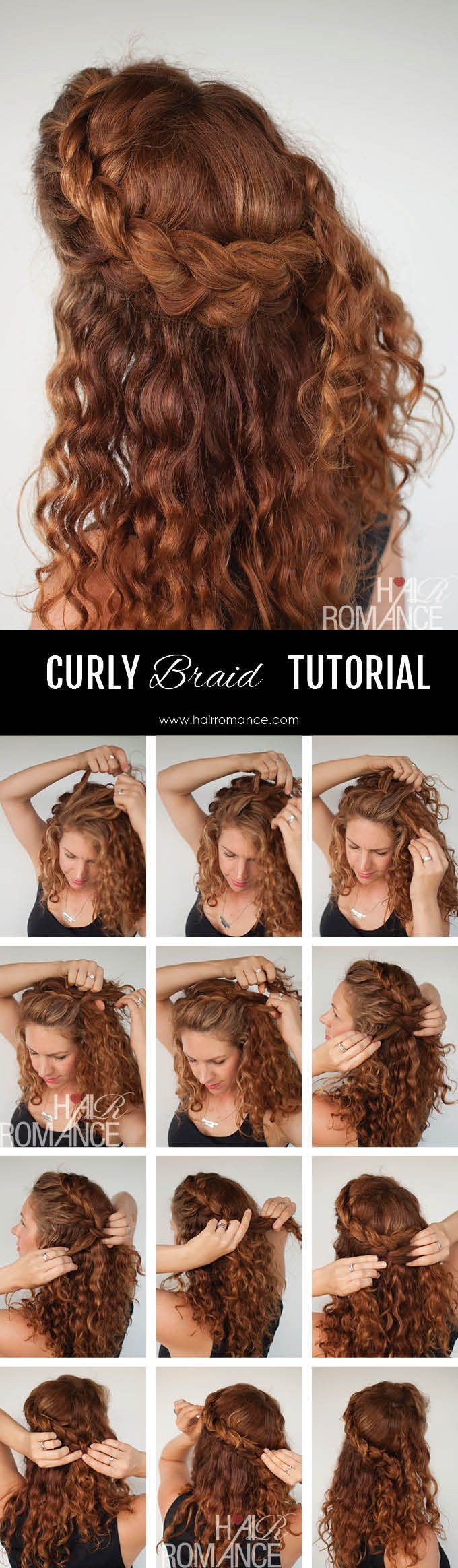 Curly hair tutorial u the halfup braid hairstyle cute hairstyles