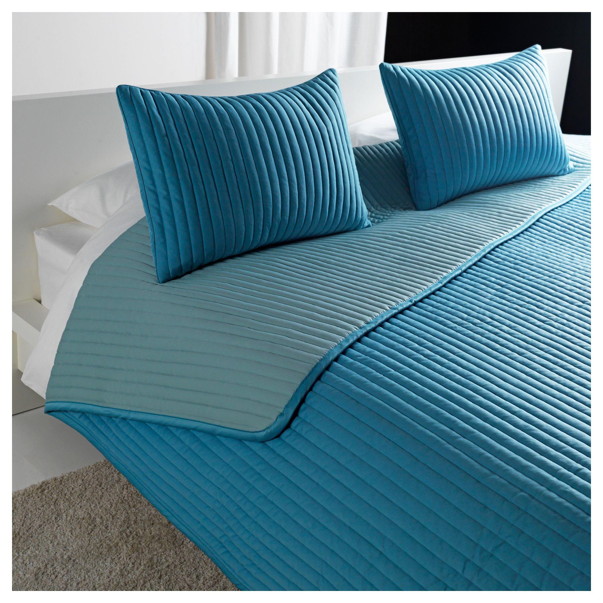 ikea couvre lit turquoise KARIT Couvre lit et 2 housses coussin   Grand deux places/TG deux  ikea couvre lit turquoise