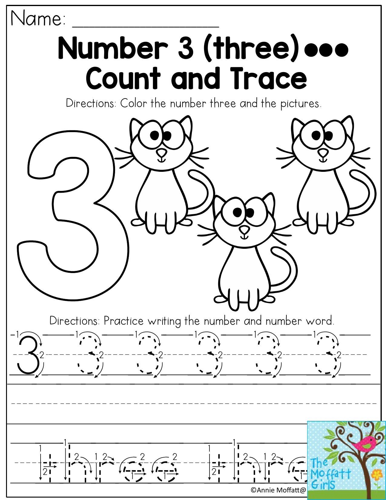 Number 3- Count, color and trace the number three! This ...