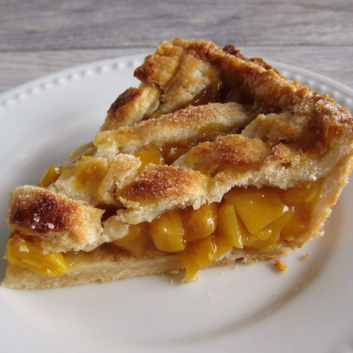 Mango pie in coconut pastry. Tapioca starch is the trick