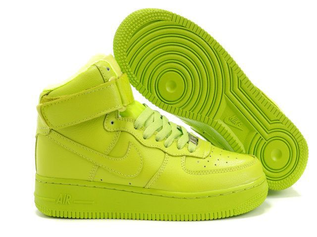 Women Nike Shoes Womens Nike Air Force 1 High Lime [Womens Nike Air Force 1  High - This kind of sneaker will be super shiny and eye-catching on your  feet.