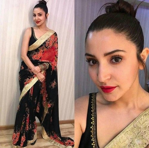 a84d6f068e4 Yay or Nay  Anushka Sharma followed minimalism by wearing a black Sabyasachi  saree at the