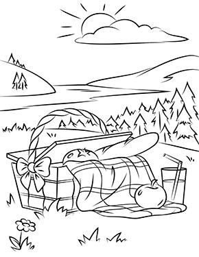 Ausmalbild Fruhling Picknick Auf Der Wiese Ausmalbilder Fruhling Malbuch Vorlagen Malvorlagen Fur Madchen