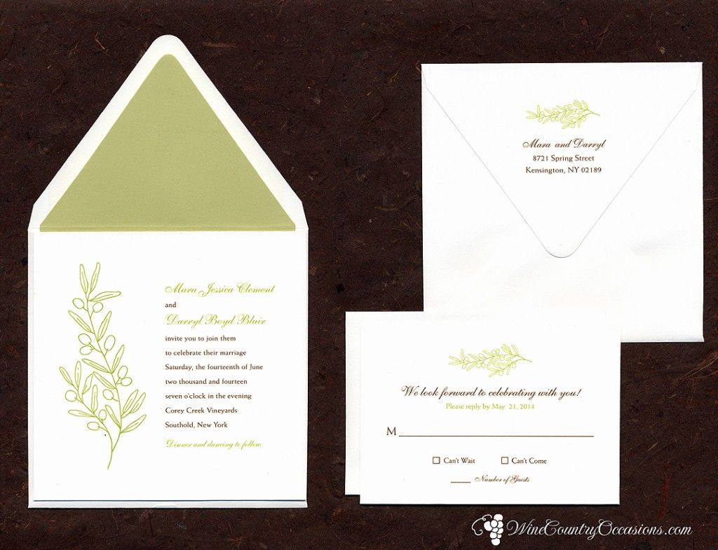 Green Olive Wedding Invitation | Olive Wedding Theme | Pinterest ...