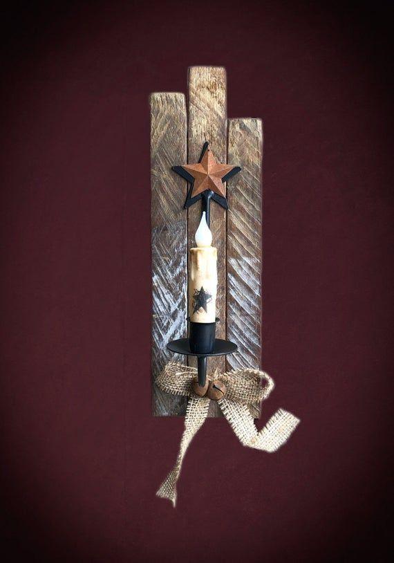 Primitive Home Decor Authentic Amish Wood Tobacco Lath Candle Sconces