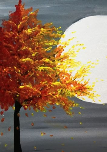 Paint Nite Fall Tree In Moonlight Fall Tree Painting Fall Canvas Painting Abstract Art Painting