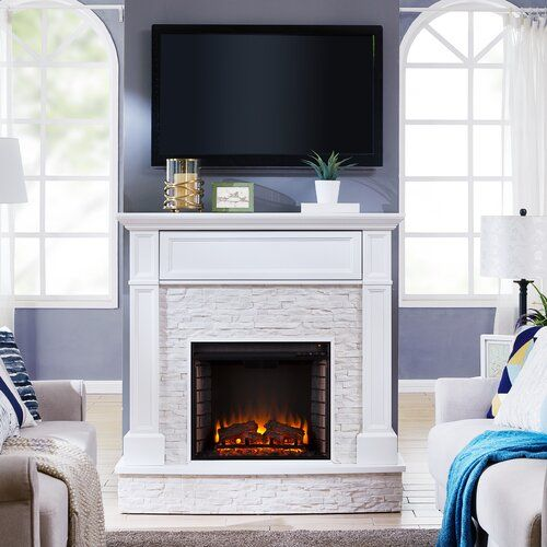 Contreras Faux Stone Infrared Media Electric Fireplace Blue Elephant