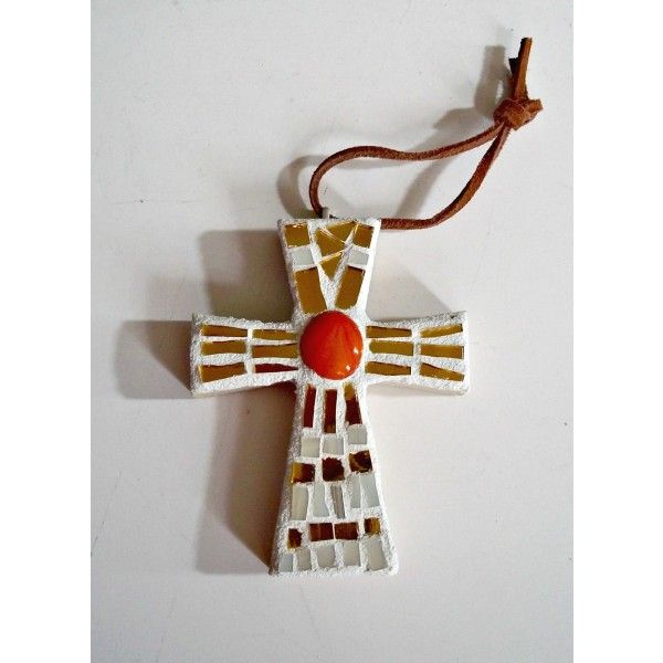 Stained Glass Mosaic Cross - 4 inches