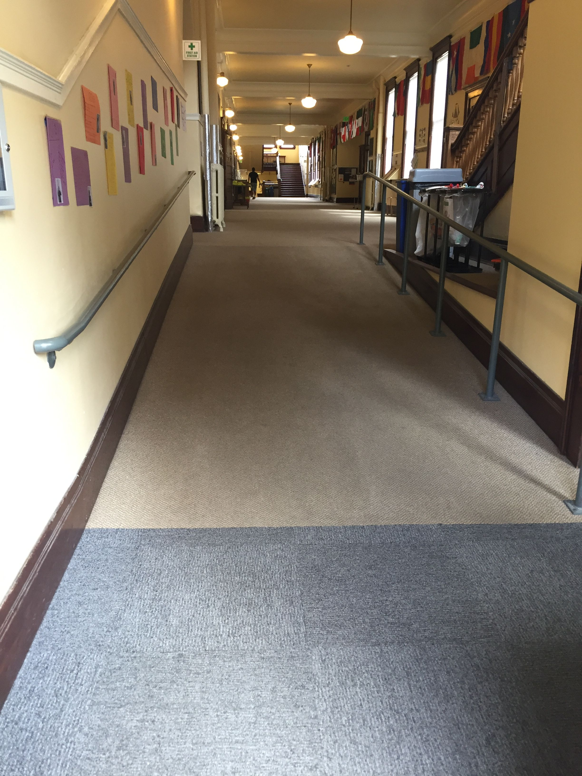 Northwest School In Seattle Installed With Bolyu Access Walk Off Carpet Tile In Entry Areas Carpet Tiles Northwest School Carpet