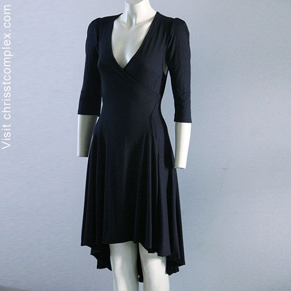 Wrap Dress Black Jersey Classic Easy and Sexy  2040 by 2040Chrisst, $89.00