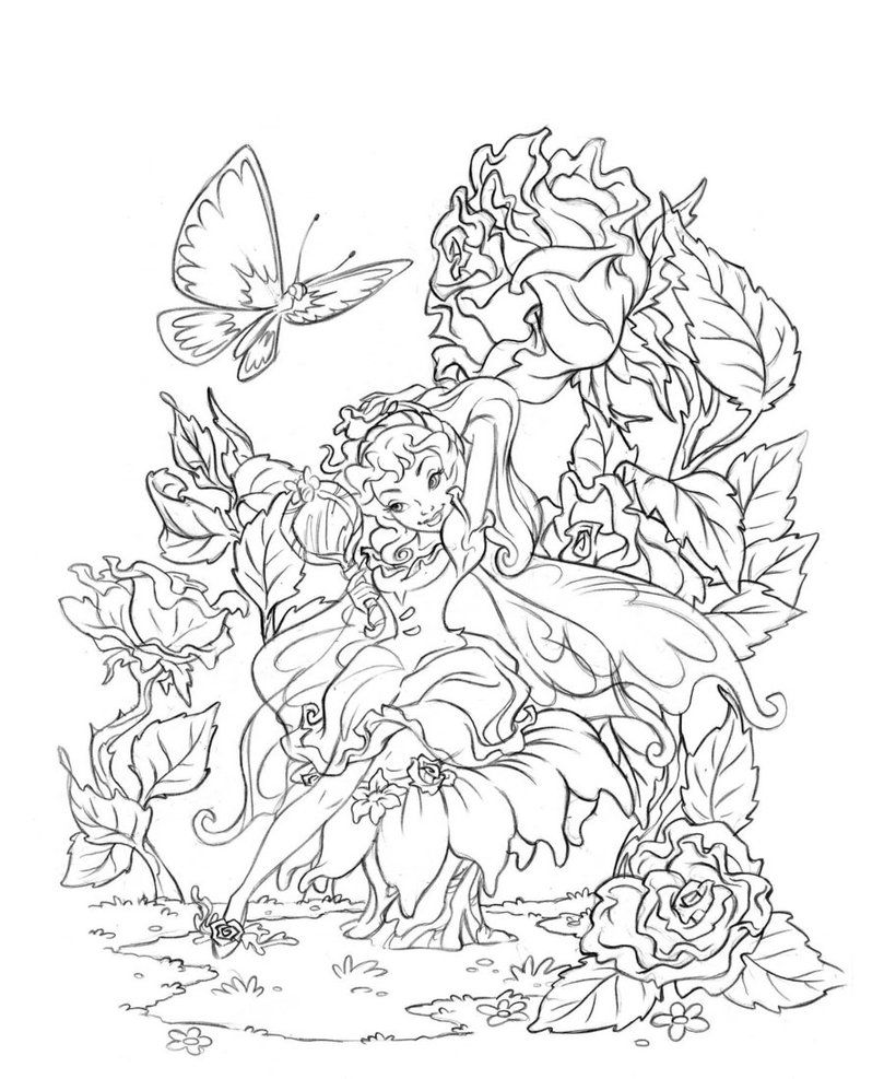 Online coloring sheets for adults - Butterfly Fairy Rose Coloring Pages Colouring Adult Detailed Advanced Printable Kleuren Voor Volwassenen Fairies Coloring Book