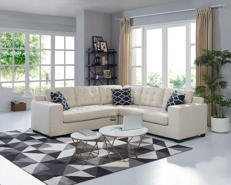 Oah D6168 3 Pc Starie Beige Linen Like Fabric Sectional Sofa