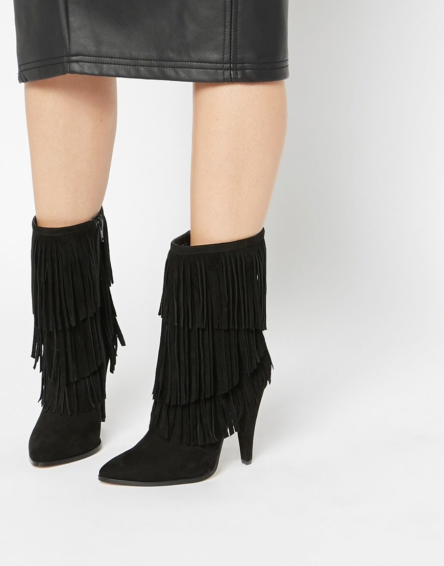 Buy Women Shoes / Asos Easy Going Pointed Fringed Ankle Boots