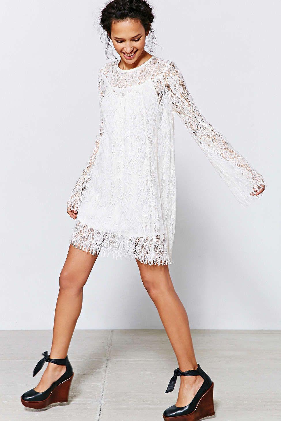 1448cd24138cbe Kimchi Blue Long-Sleeve Lace Trapeze Dress