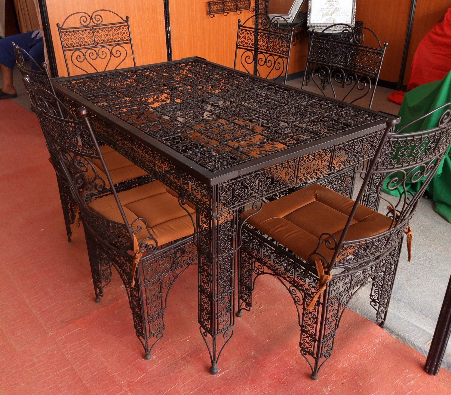 Wrought Iron Patio Furniture Garden Table Chairs Wrought Iron
