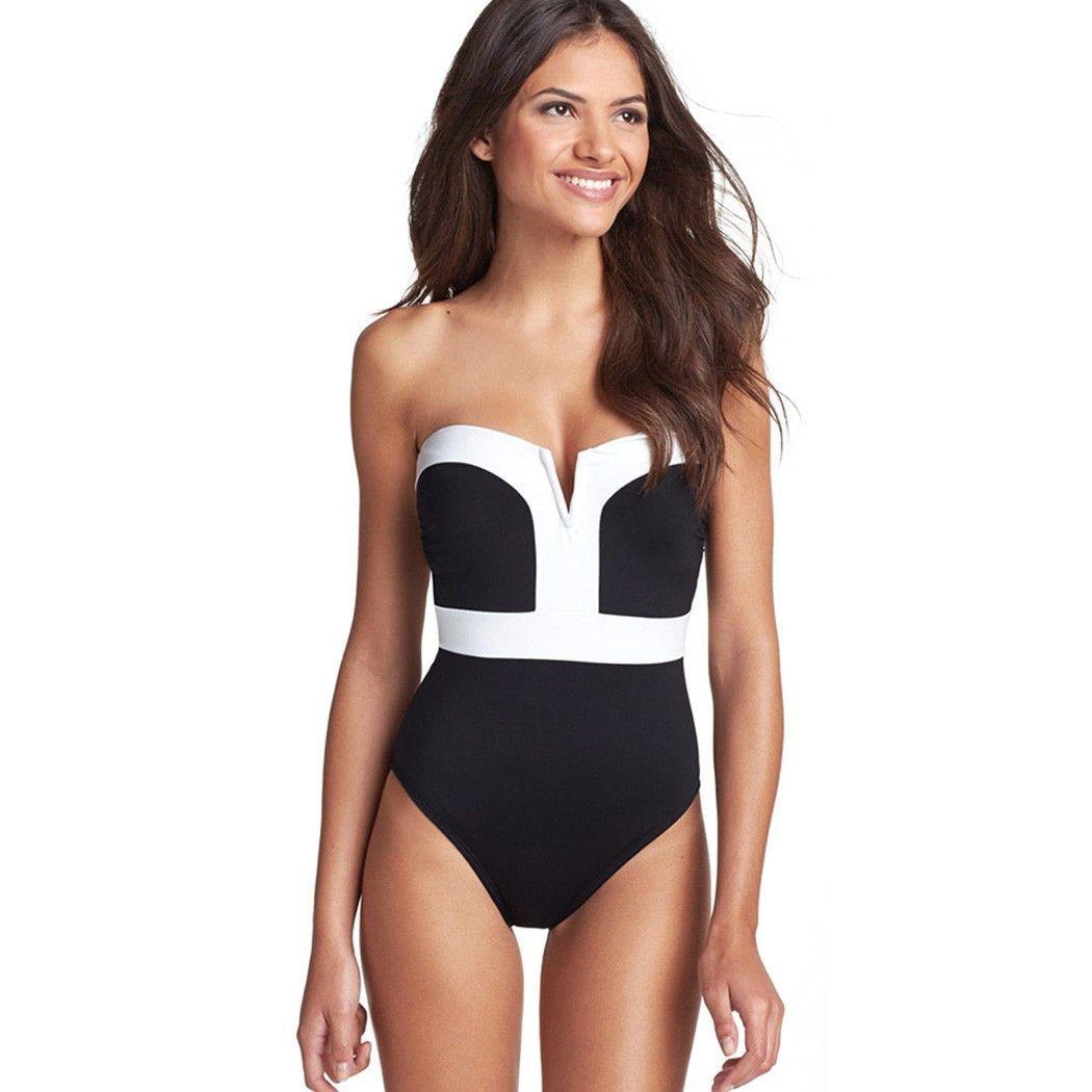 De Badpak.Y Women Strapless One Piece Push Up Swimwear Beachwear Una Pieza