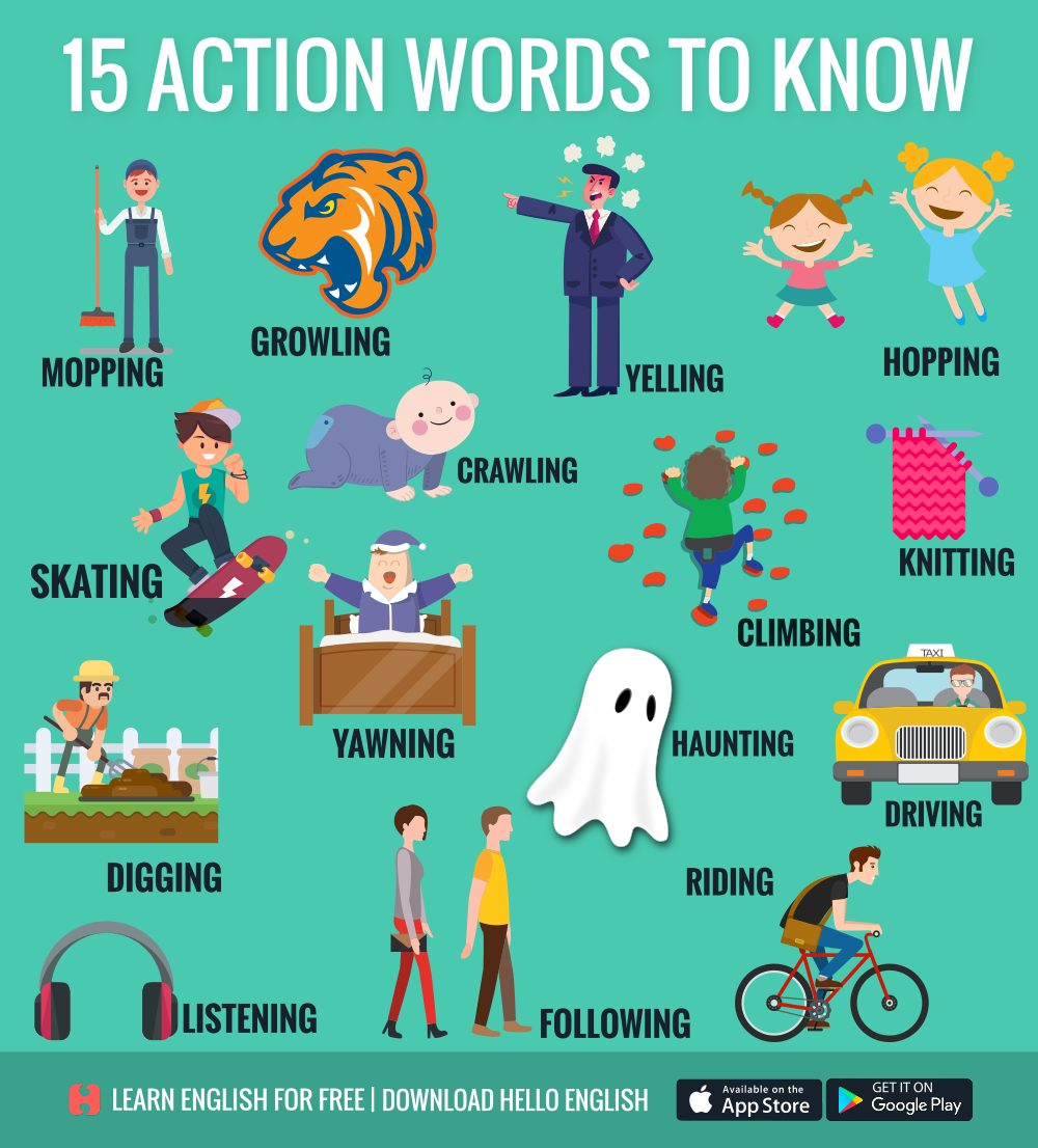 15 actions words to know | Sáng tạo | Pinterest | Action words ...