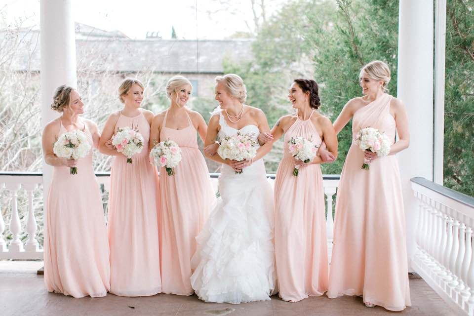 fe766c64321 Bridesmaids pearl pink Azazie dresses at Charleston s Governor s House Inn