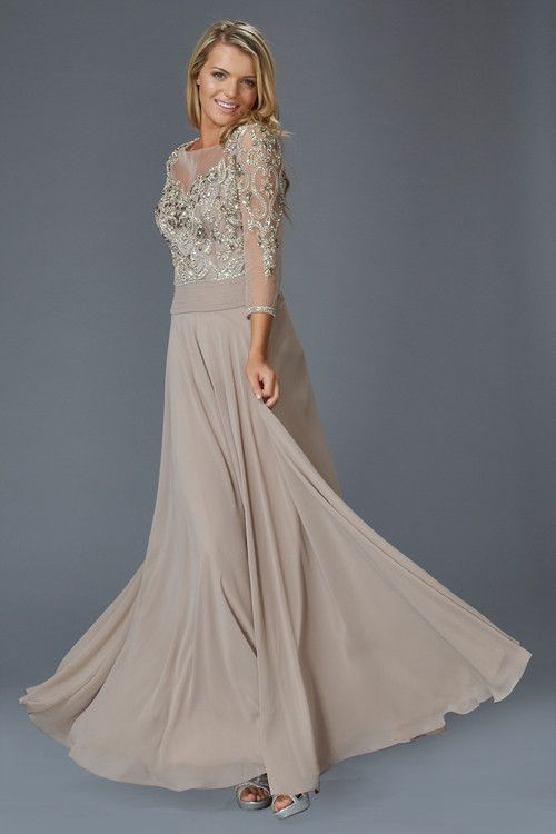 336e53e5a94 G2127 Beaded Chiffon Sheer Illusion Sleeve Mother of Bride Dress Evening  Gown