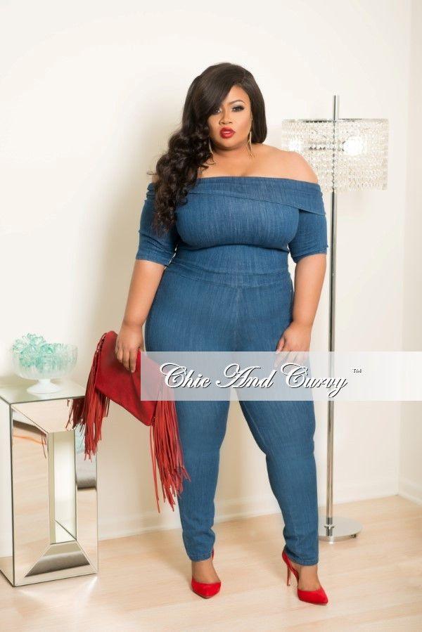 50e847bc9fc Plus Size Off the Shoulder Denim Jumpsuit w  Back Zipper – Chic And Curvy
