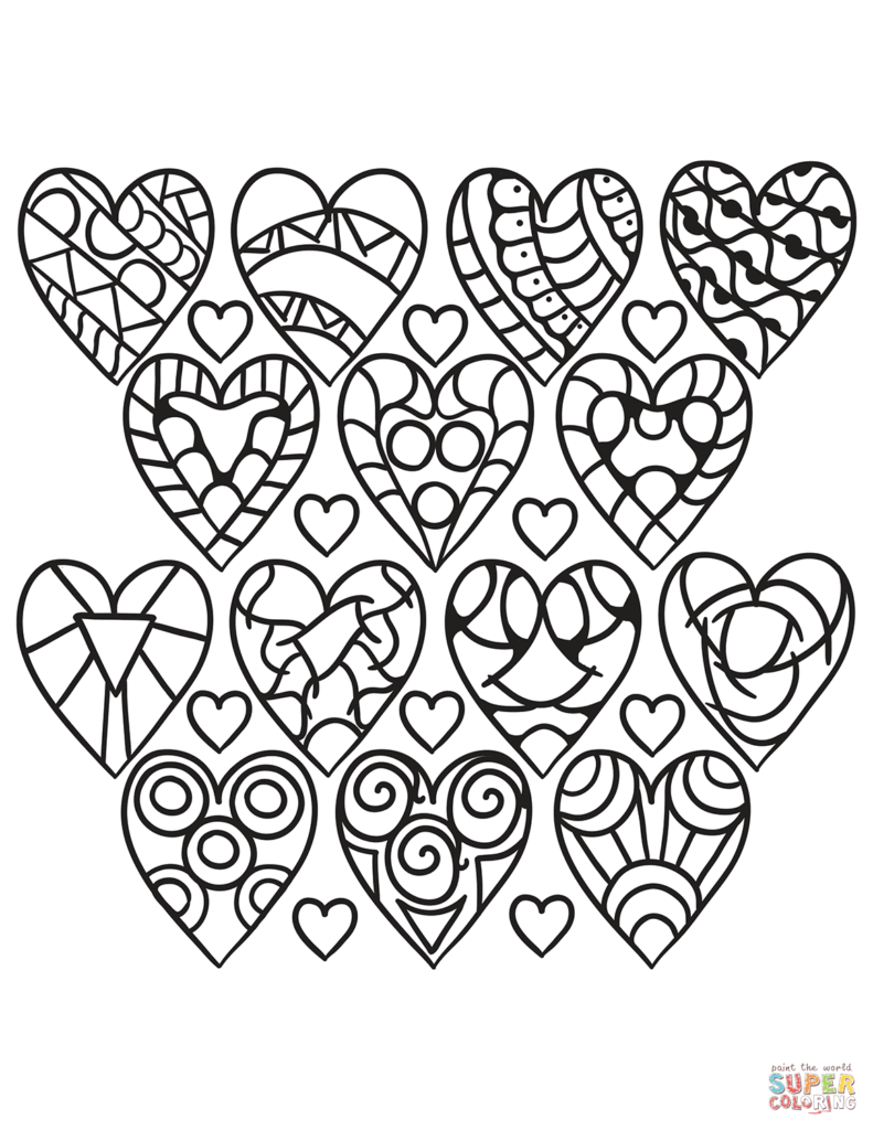 Heart Coloring Pages Heart coloring pages, Pattern