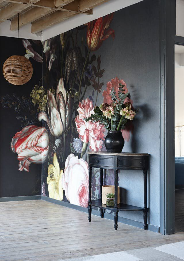 11 Beautiful Wall Murals That Will Make You Want To Break Up With Paint Floral Wallpaper Wall Painting Mural
