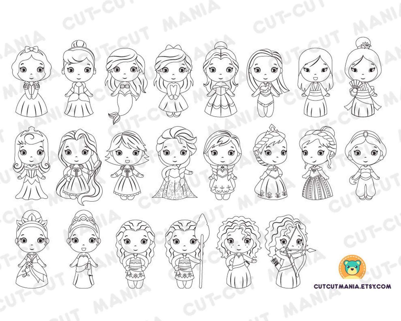 Princesses for coloring Princesses black and white cliparts  Etsy