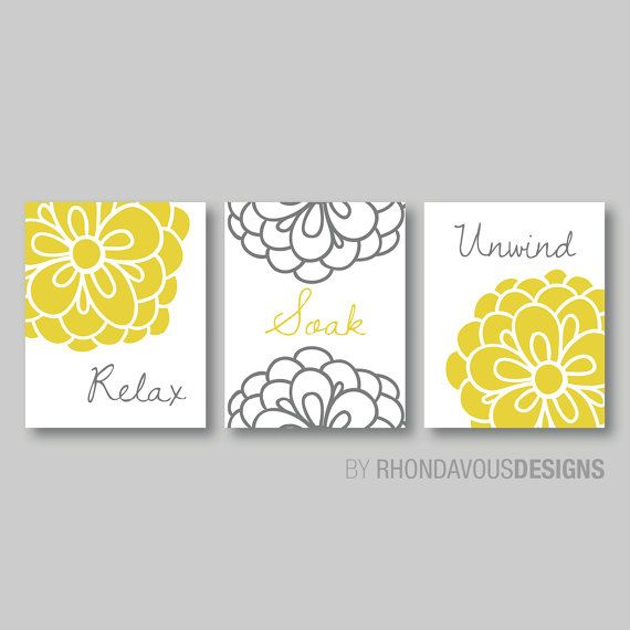 Bathroom Art Size: Floral Relax Soak Unwind Print Trio