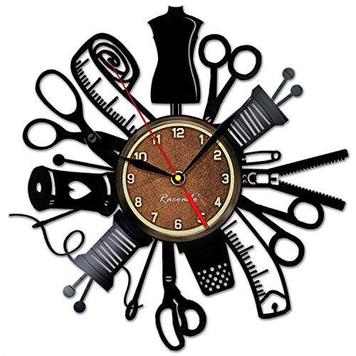 Handmade Solutions Sewing Instrument Wall Vinyl Art Clock Https Www Amazon Com Dp B06y2hll83 Ref Cm Sw R Pi Dp X Uup Yb Sewing Room Decor Clock Wall Clock