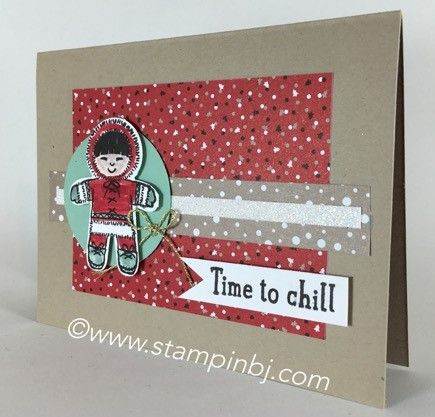 Check out this cute eskimo card. It is part of a set using the Cookie Cutter Christmas stamp set. Check my blog for how you can get the tutorial! #stampinbj.com